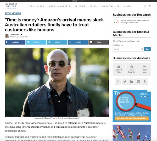 Business Insider interview with Joel Norton Amazon Australia